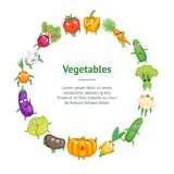 Cerchio sano fresco della carta dell'insegna dei caratteri delle verdure del fumetto Vettore illustrazione vettoriale