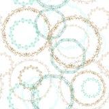 Cerchio senza cuciture d'annata di marrone patern e blu su fondo bianco Vettore illustrazione di stock
