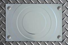 Cerchio a strisce di piastra metallica sul fondo di struttura del metallo immagini stock libere da diritti