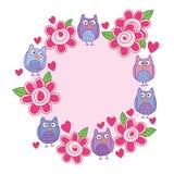 Cerchio sveglio sciocco della struttura della foglia del fiore del gufo royalty illustrazione gratis