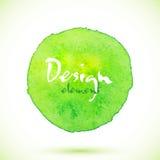 Cerchio verde dell'acquerello, elemento di progettazione di vettore Immagini Stock