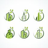 Cerchio verde moderno Real Estate Logo Set Fotografia Stock