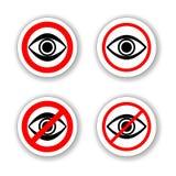Cerchio Warinig nessun segno proibito sbirciare Infographics, autoadesivo, icona o etichetta royalty illustrazione gratis