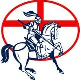 Cercle anglais de drapeau de Riding Horse England de chevalier rétro Images stock