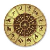 Cercle au néon bleu d'horoscope Cercle avec des signes de zodiaque Vecteur Photographie stock libre de droits