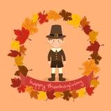 Cercle Autumn Leaf Thanksgiving Boy Photographie stock