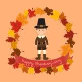 Cercle Autumn Leaf Thanksgiving Boy Vector Photographie stock libre de droits