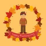 Cercle Autumn Leaf Thanksgiving Indian Boy Images libres de droits