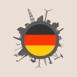 Cercle avec des silhouettes de parent d'industrie Indicateur de l'Allemagne Photo libre de droits
