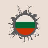 Cercle avec des silhouettes de parent d'industrie Indicateur de la Bulgarie Photographie stock libre de droits