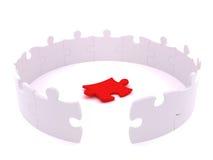 Cercle blanc debout de puzzle avec la paix perdue Photo libre de droits