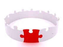 Cercle blanc debout de puzzle avec la paix rouge Image stock