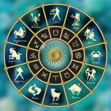 cercle Or-bleu d'horoscope Cercle avec des signes de zodiaque Vecteur Photos libres de droits
