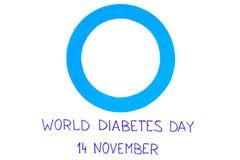 Cercle bleu de papier sur le fond blanc, symbole de jour de diabète du monde Images libres de droits
