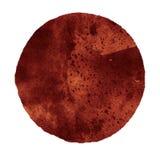 Cercle brun abstrait d'aquarelle d'isolement sur le blanc Photos stock