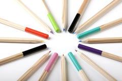 Cercle coloré de crayons Photo libre de droits