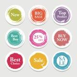 Cercle coloré de papier de vecteur, autocollant, label, bannière avec des courses de brosse Photo stock
