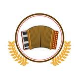 cercle coloré de silhouette avec la branche d'olivier décorative et accordéon avec le clavier Photographie stock