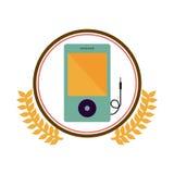 cercle coloré de silhouette avec la branche d'olivier décorative et le dispositif portatif de musique Photo stock