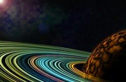 Cercle coloré lumineux de cosmos avec l'illustration de planète illustration stock