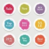 Cercle coloré de papier de vecteur, autocollant, label, bannière avec des courses de brosse Image stock