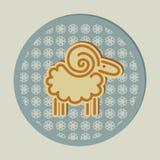 Cercle décoratif de flocons de neige de moutons de Noël Image stock