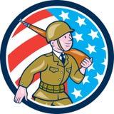 Cercle d'American Marching Cartoon de soldat de la deuxième guerre mondiale Photos stock