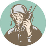 Cercle d'American Talk Radio de soldat de la deuxième guerre mondiale Image libre de droits