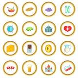 Cercle d'icônes de voyage de la Suisse Photos libres de droits