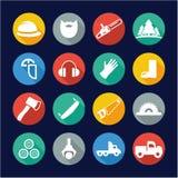 Cercle d'Icons Flat Design de bûcheron Photo stock