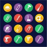Cercle d'Icons Flat Design de charpentier Images libres de droits
