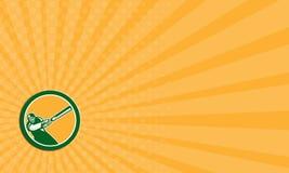 Cercle d'ouate en feuille de batteur de joueur de cricket de carte de visite professionnelle de visite rétro Image stock