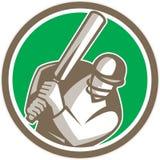 Cercle d'ouate en feuille de batteur de joueur de cricket rétro Image libre de droits