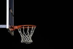 Cercle de basket-ball rouge d'isolement sur le noir Anneau de basket-ball Avec l'espace de copie Image libre de droits