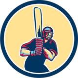Cercle de batteur de joueur de cricket rétro Image libre de droits