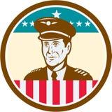 Cercle de drapeau d'Aviator Etats-Unis de pilote de ligne aérienne rétro Photos stock