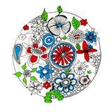 Cercle de fleur sur le blanc Photos libres de droits