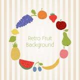 Cercle de fruit de griffonnage dans de rétros couleurs Image libre de droits
