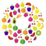 Cercle de fruit frais d'isolement sur le fond blanc Image stock