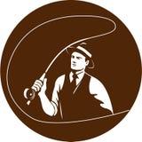 Cercle de Gangster Fly Fisherman de truand rétro Photographie stock