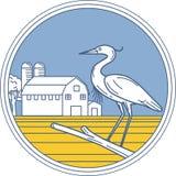 Cercle de grange de ferme de héron de grand bleu rétro illustration de vecteur