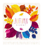 Cercle de grunge de feuilles d'automne Image stock