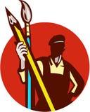Cercle de Holding Pencil Paintbrush de peintre d'artiste rétro Images libres de droits