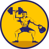 Cercle de Lifting Kettlebell Dumbbell d'athlète rétro Photos stock