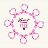 Cercle de mains de femmes de ruban de conscience de cancer du sein  Photos libres de droits