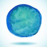 Cercle de peinture d'aquarelle d'isolement par bleu Image libre de droits