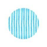 Cercle de rayure bleue peint dans l'aquarelle Rétro fond de type Conception d'élément pour des affiches, autocollants, bannières, Images libres de droits