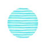 Cercle de rayure bleue peint dans l'aquarelle Rétro fond de type Conception d'élément pour des affiches, autocollants, bannières, Photographie stock libre de droits