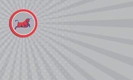 Cercle de remplissage d'attaque de Taureau de carte de visite professionnelle de visite rétro Images stock