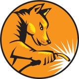 Cercle de soudure de chien de dingo rétro illustration de vecteur